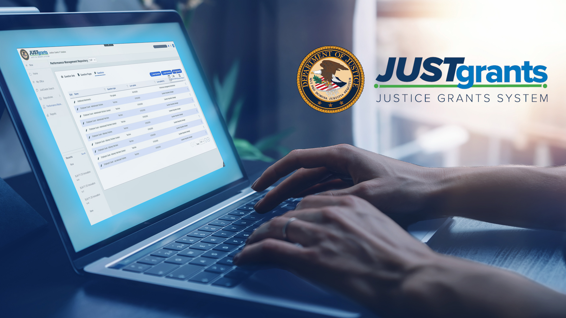 JustGrants logo and person typing on computer